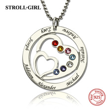 Strollgirl 925 Sterling Silver Custom Necklace Moms Heart in Heart Necklace with 7 Kids Names & Birthstones Silver Jewelry