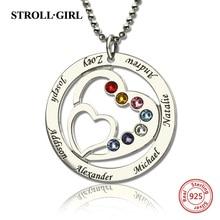Strollgirl 925 ayar gümüş özel kolye anneler kalp kalp kolye ile 7 çocuklar isimleri ve Birthstones gümüş takı