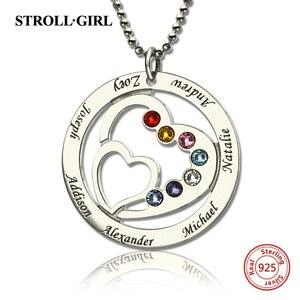 Image 1 - Strollgirl 925 ayar gümüş özel kolye anneler kalp kalp kolye ile 7 çocuklar isimleri ve Birthstones gümüş takı