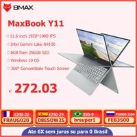 BMAX-ordenador portátil Y11, pantalla IPS de 11,6 pulgadas, Quad Core, Intel N4100, 1920x1080, 8GB de RAM LPDDR4, 256GB SSD de ROM, Windows 10, plateado, novedad