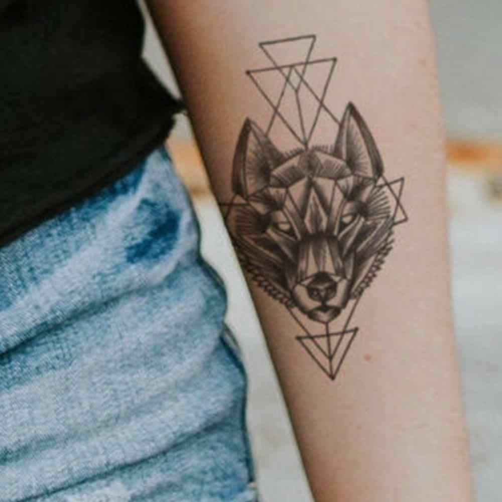 Geometri Rhombus dövmeler geçici kol Lotus kurt erkek kına çıkartmalar macun su geçirmez siyah dövmeler dövme kadın çiçek O2N1