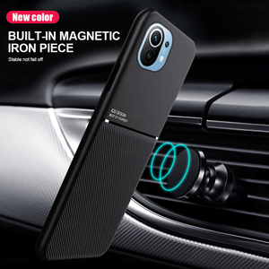 Image 2 - leather texture car magnetic holder phone case cover for xiaomi mi 11 lite 11lite mi11 light 5g silicone bumper shockproof coque