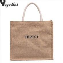 Bolsos de lino informales con letras para mujer, bolsas de compras de gran capacidad de diseñador de marca, bolsos de hombro de viaje para playa