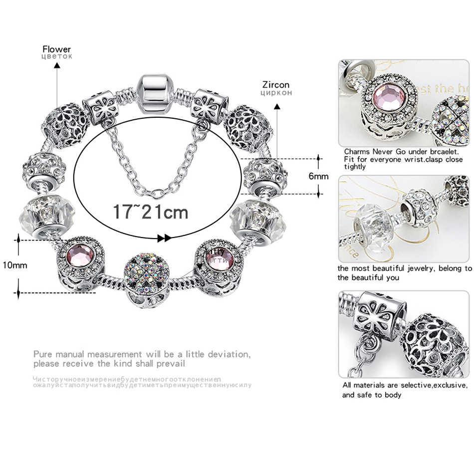 ELESHE noel hediyesi moda gümüş renk Charm bilezik bileklik kadınlar için kristal çiçek kalp yonca boncuk bilezik DIY takı