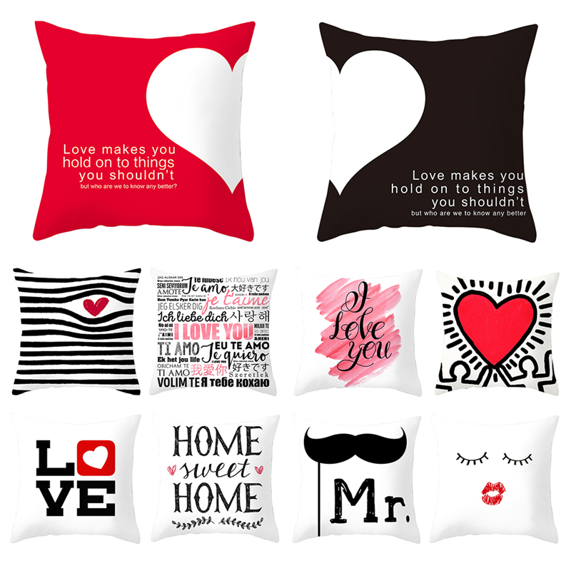 Fuwatacchi Valentine's Day Gift Pillow Cover Mr And Mrs Cushion Cover Printed Throw Pillowcase For Home Sofa Decorative Pillow