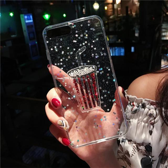 Bling Glitter Star Clear Phone Case For iPhone