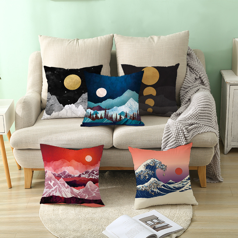 Painting Oil Mountain Forest Whale Soft Cushion Cover 45*45 Decorative Pillow Cover for Car Home Office Throw Pillows slip-on shoe