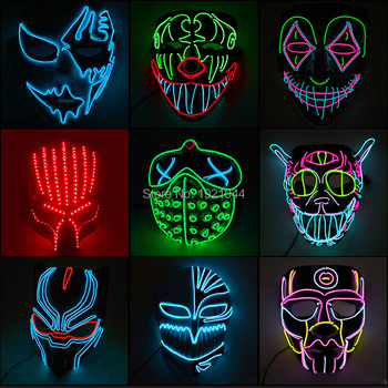 35 Style New Halloween Party Mask Glowing Carnival LED Mask for Party Multicolor Luminous Mask Halloween Decoration high quality carnival circus creepy giggles halloween clown head mask