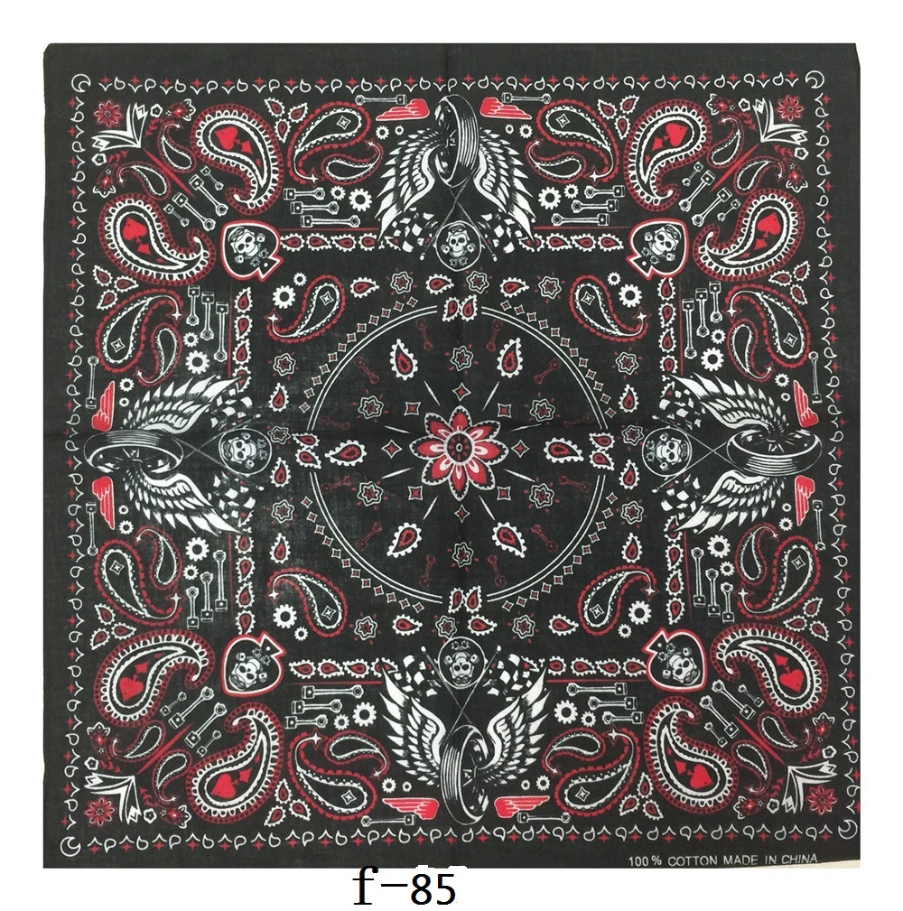 Cotton Red Rose Paisley Black Square Scarf Hip Hop Turban Bandanas Foulard Headwear/Hair Neck Wrap Band Headties For Women/Mens