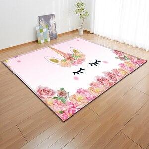 Image 1 - Alfombras de franela antideslizantes con dibujos de unicornios rosa para niños, tapete de juego para habitación de niñas, Alfombra de área decorativa, alfombra para sala de estar y alfombra