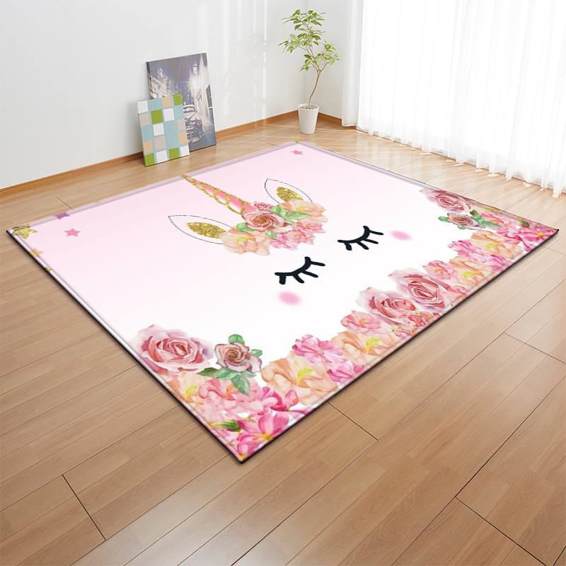 Cartoon Pink Unicorn Carpets Anti-slip Flannel Carpets Kids Play Mat Girls Room Decorative Area Rug Living Room Rug And Carpet
