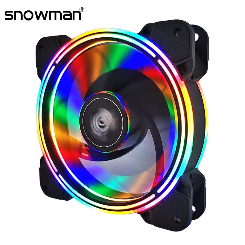 SNOWMAN 120mm RGB Case Fan Ultra Silent 12CM Quiet Cooling Fan PC Cooler Fan Computer  Case Fans 12V DC Chassis Radiator 1300RPM
