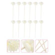 12Pcs Aroma Refill Sticks Aromatherapy Sticks Handicrafts Rattan Flower (White)