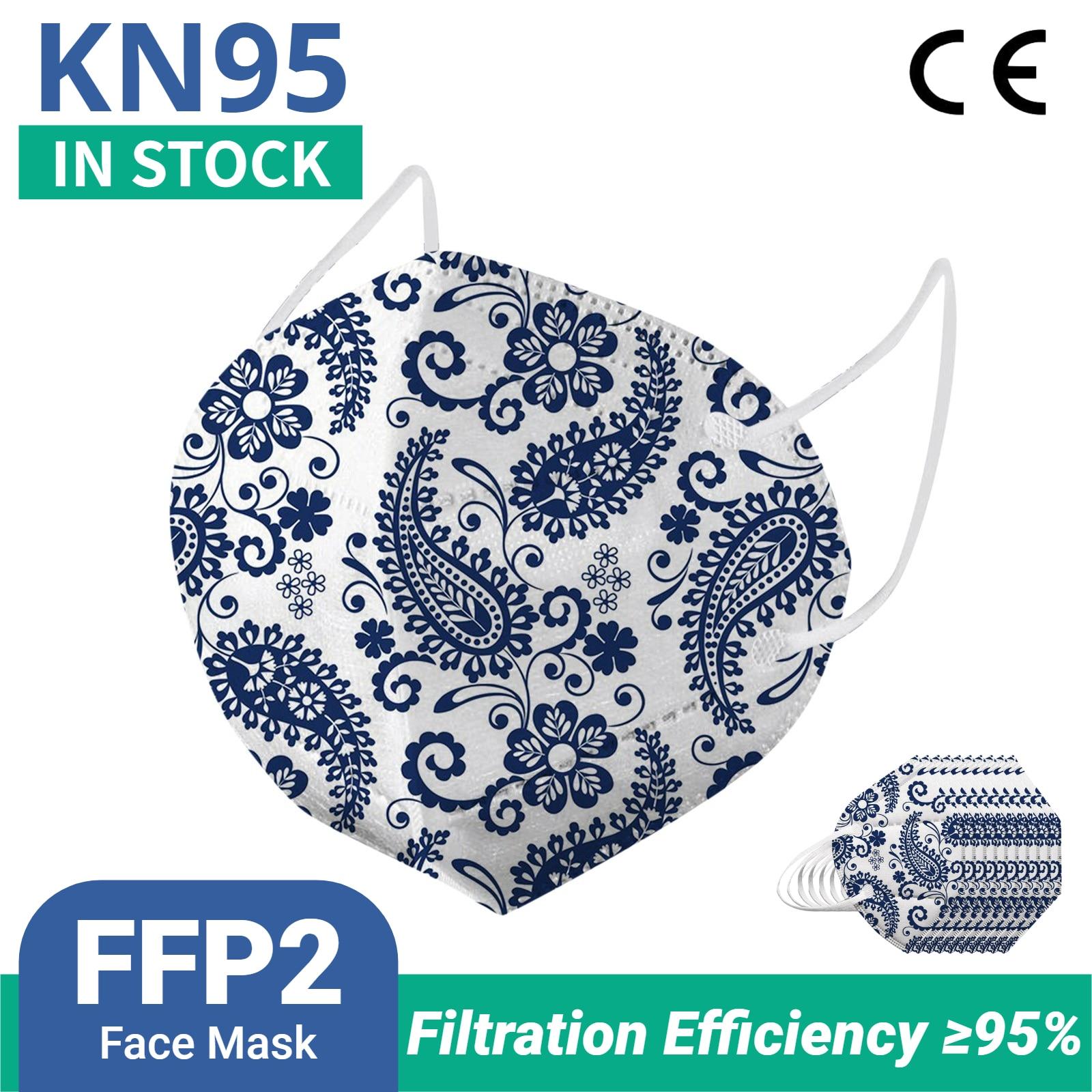 10-100 шт. FFP2 Mascarillas KN95 маски для лица взрослых рисунком «турецкие огурцы» 5 слоев фильтр маска для лица фильтрации пыле маски