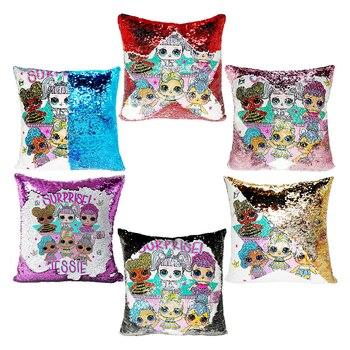 LoL Surprise Dolls Cushion Cover Christmas Gift Pillow Case Color Sequins Cartoon Children's Bedroom Pillow Sofa Nap 40cm 2S83