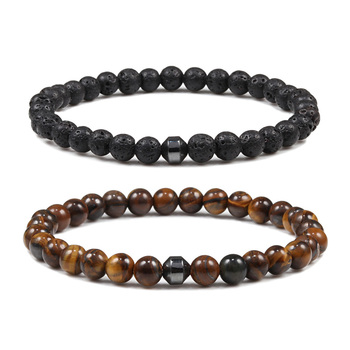 6mm Cylinder Hematite Bracelet Tiger Eye Natural Volcanic Stone Charm Men Women Beaded Bracelets Jewelry Homme pulseras hombre