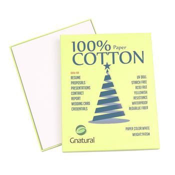 36gsm 100% cotton paper A4 210*297mm White color with blue and red fiber Starch-free Waterproof, 500 sheets GCYT001