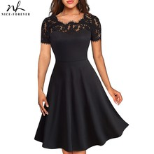 Nice forever Vintage Elegant Floral Lace Neckline Pinup vestidos ALine Business Party Flare Women Skater Dress A119