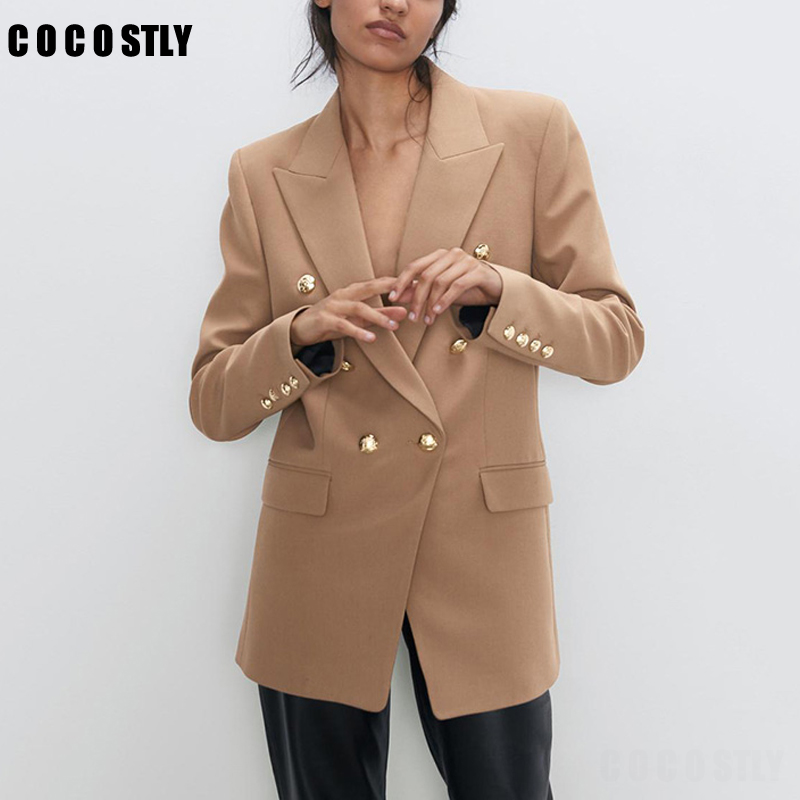 New Fashion Office Wear Double Breasted Blazer Women Coat Vintage Long Sleeve Suit Jackets Female Outerwear Chic Tops