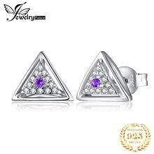 JewelryPalace природный Аметист треугольник Стад серьги стерлингового серебра 925 для женщин мода ювелирных изделий драгоценной камня