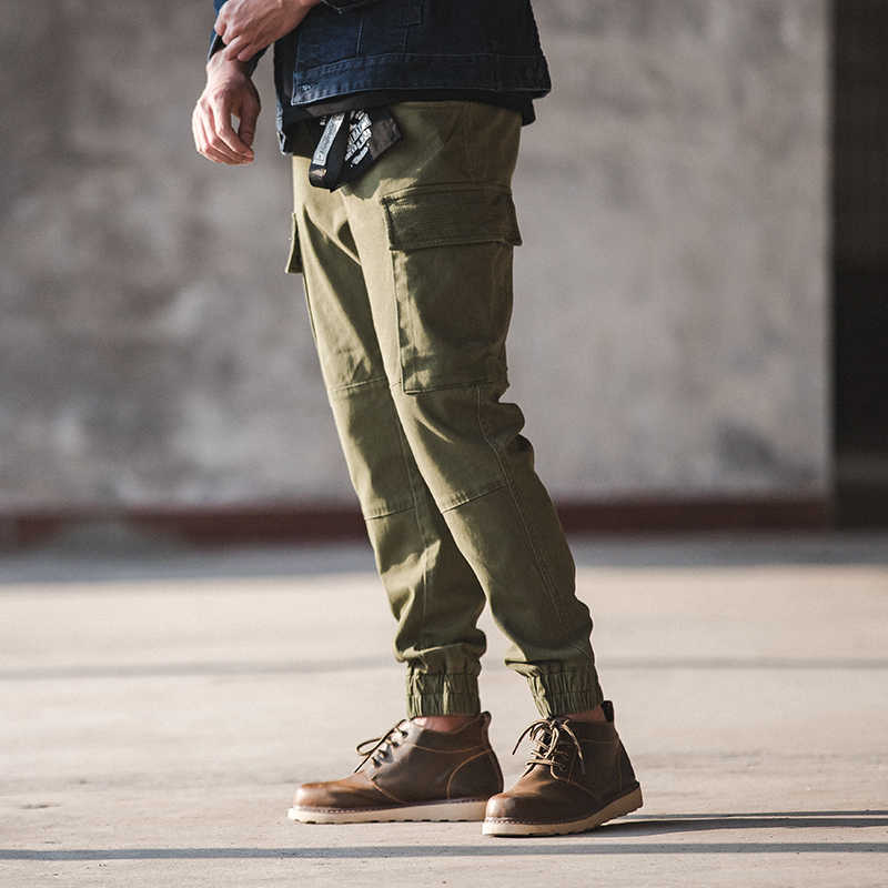 Mannen Slim Fit Twill Cargo Jogger Broek Stretch Multi Pocket Blauw Kaki Groen