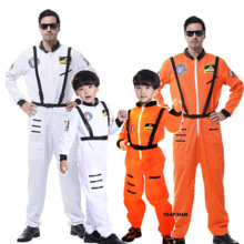 Astronaut Costume Helmet Jumpsuit Pilots Party Carnival Adult Baby Cosplay Outfit Purim