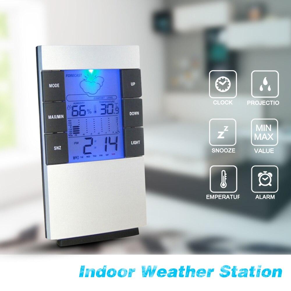 Digital Alarm Clock Hygrometer Electronic Thermometer Time Large Display Clock With Backlight Calendar Clocks Desk Table Display