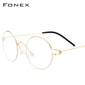 FONEX Titan Legierung Brillen Rahmen Männer Vintage Runde Brille Frauen Optische Koreanische Rezept Schraubenlose Brillen 98607