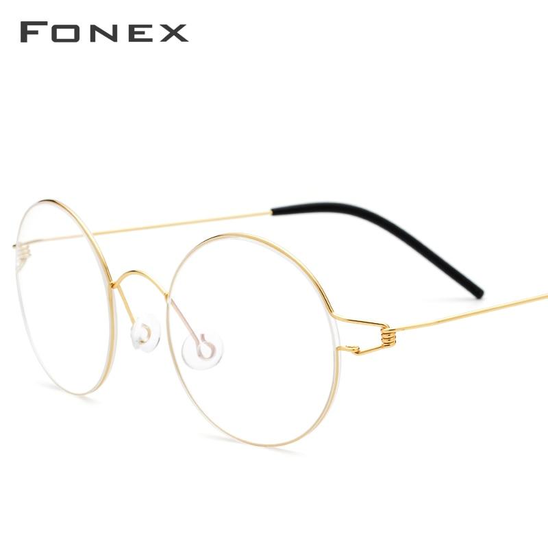 FONEX Titanium Alloy Eyeglasses Frame Men Vintage Round Glasses Women Optical Korean Prescription Screwless Eyewear 98607