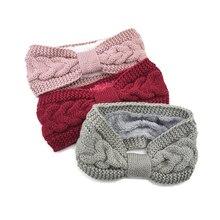 Elegant Warm Knitted Headband For Women Furry Fleece Lined Wide Headwrap Elastic Warmer Ear Crochet Bow Turban Hair Accessories