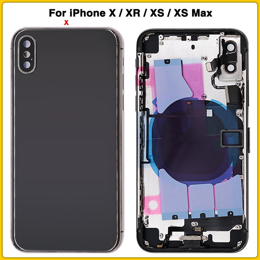 For IPhone XR XS XS Max Battery Back Cover Door Rear Cover + Middle Frame Chassis With Flex Cable Full Housing Case For IPhone X