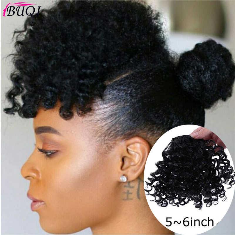 Afro Kinky Krullend Bang Voor Zwart Wit Vrouw Nep Fringe Clips In Pony Pruik Haar Natuurlijke Zwart Synthetisch Haar Accessoires buqi