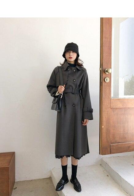 2020 new women's winter coat woolen coat slim-fit belt elegant and soft women's long coat coat windproof 1