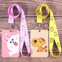 Korean Cute ID Card holder badge holder with Lanyard Cartoon Kawaii Student Card set Retractable lanyard Badge reel Stationery