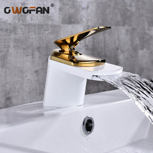 Bathroom Gold Waterfall Faucets Deck Mounted Basin Mixer Tap Brushed Sink Tap Vanity Hot Cold Water Faucet Basin Mixer Taps 432 led light changing color waterfall basin faucet deck mounted mixer taps brushed nickel dual handle three holes