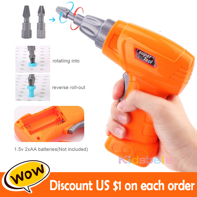 Image 2 - Kids Screwing Blocks Toys Assembly Disassembly Educational Toy Electric Drill Screwing Puzzle Design Toy Creative Toys For Boys-in Screwing Blocks from Toys & Hobbies