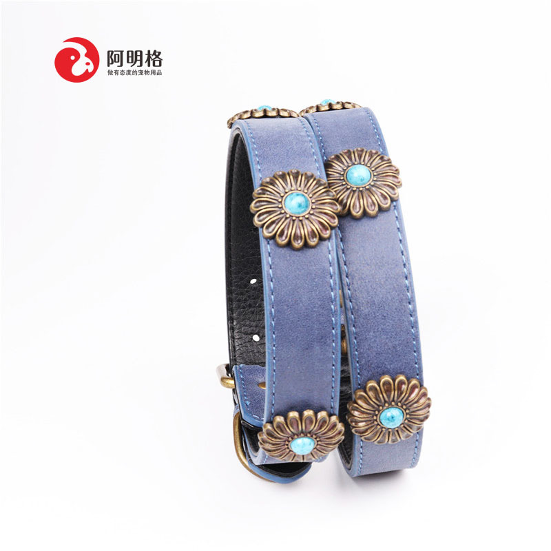 Amin Lattice New Style Origional Pattern Chrysanthemum Pet Bronze Neck Ring Genuine Leather Dog Neck Ring