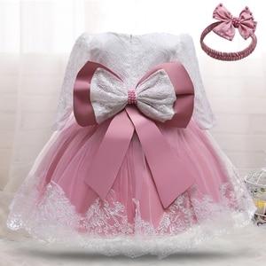 DressForBabyFancy Wedding Dress Long Sleeve Pink Lace Baptism Dresses Girl Baby Birthday Dress Toddler Girl Christening Gown
