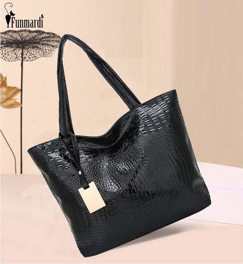 FUNMARDI Fashion Crocodile Shoulder Bags Women Large Capacity Handbags Soft PU Leather Bag For Women Casual Tote Bags  WLHB1977