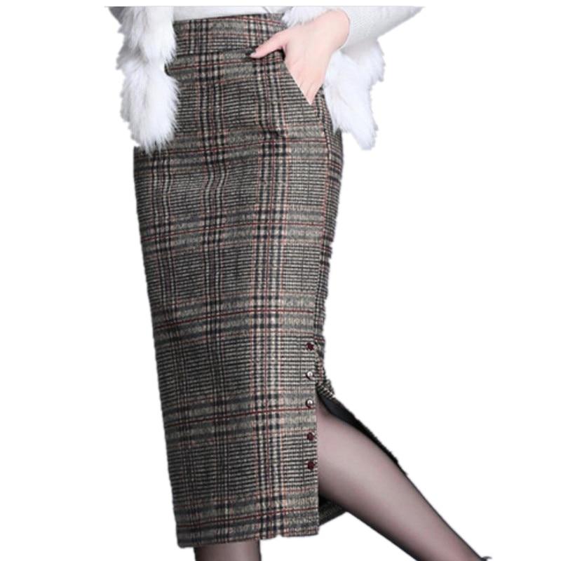 Женская шерстяная юбка-карандаш, зимняя клетчатая офисная юбка-карандаш с высокой талией и разрезом на бедрах, 2020
