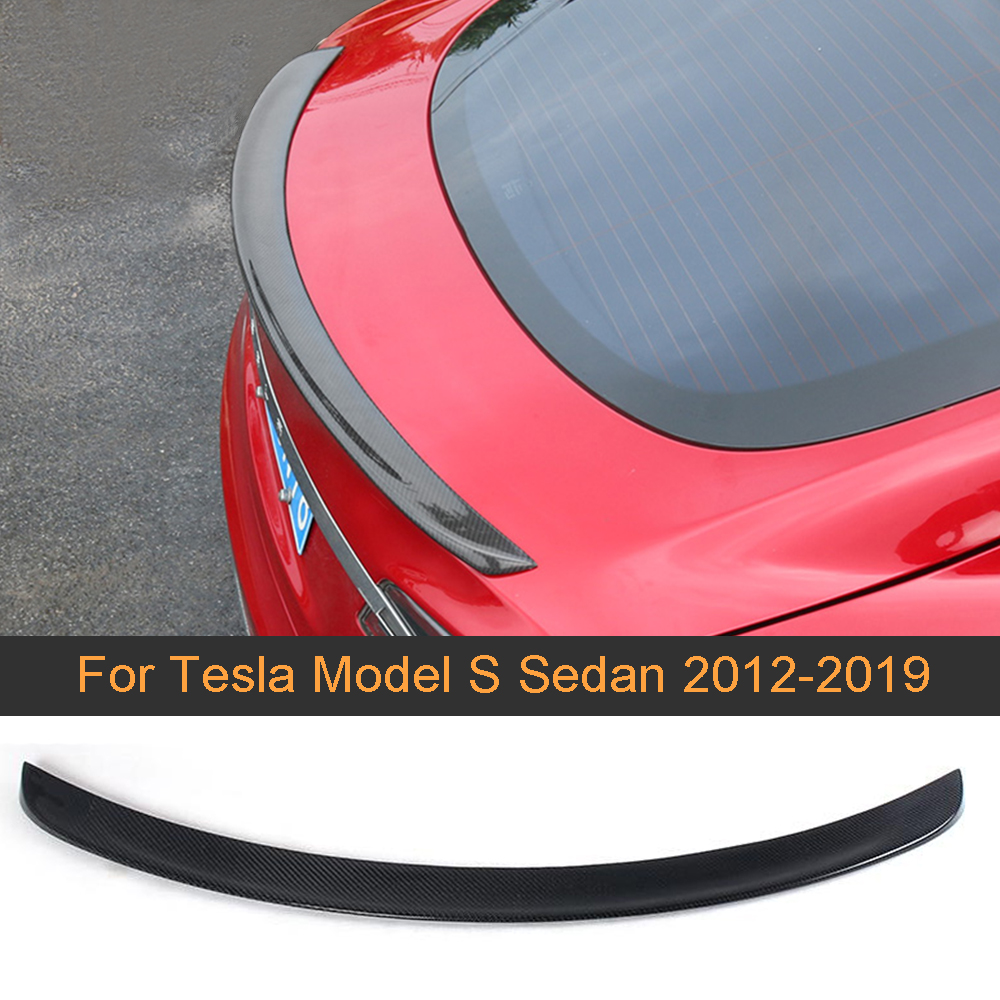 Rear Trunk Wing Spoiler for Tesla Model S Sedan 60 70 75 85 <font><b>90</b></font> D P85D P90D P100D 2012-2019 Matt Gloss Carbon Fiber Boot Spoiler image