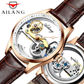 AILANG Luxury Hollow Automatic Watch Mechanical Men Brown Leather Wrist Watches Transparent Skeleton Business Casual Clock Mens|Mechanical Watches|   -