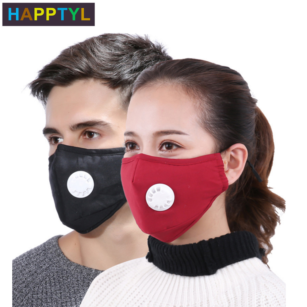 HAPPTYL Anti Pollution Mask Dust Respirator Washable Reusable Masks Cotton Unisex Mouth Muffle For Travel/ Cycling/Running