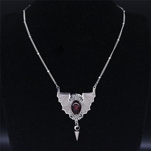 2021 Fashion Gothic Vampire Bat Stainless Steel Neckless for Women Silver Color Necklaces Jewelry Necklace Chain N4031S02