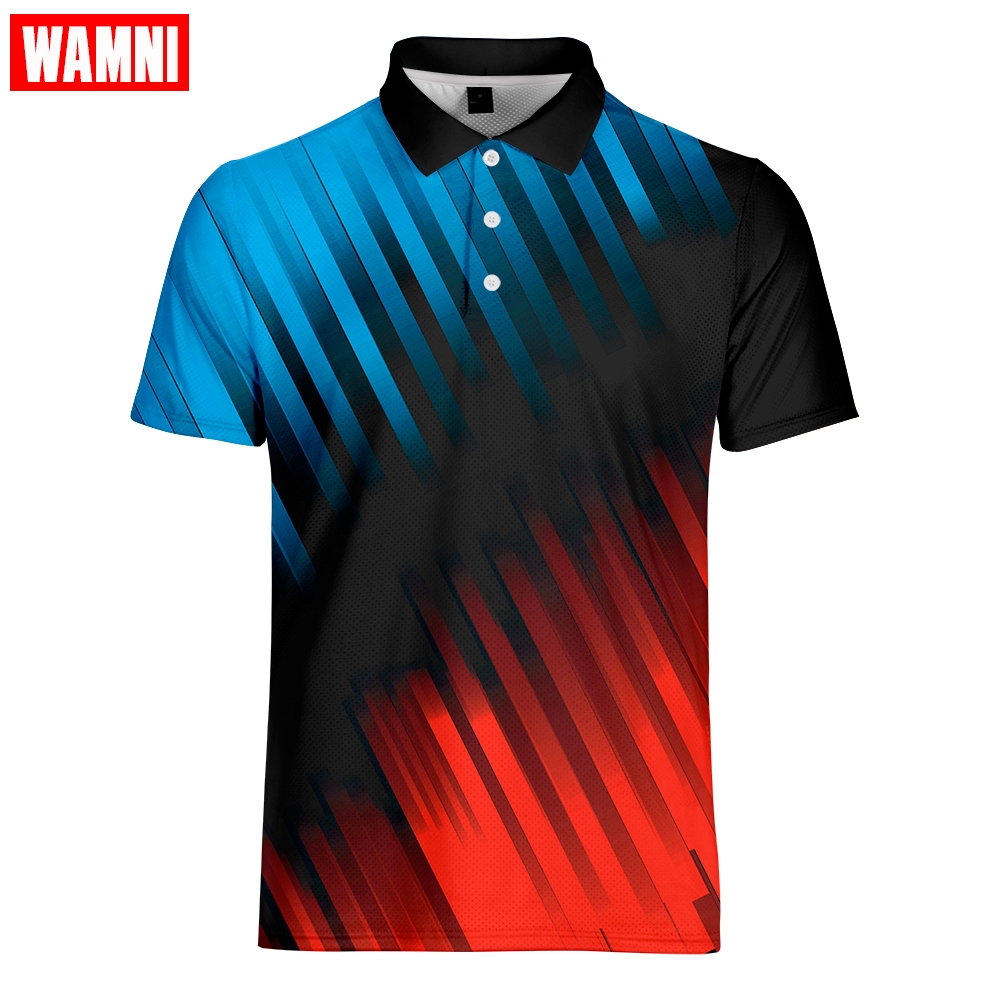 WAMNI Tennis Fashion Polo 3D Shirt Turn-drown Sport Shirt 2019 Plus Size Brand Polo-shirts Clothing Outwear Tee Tops Dropship