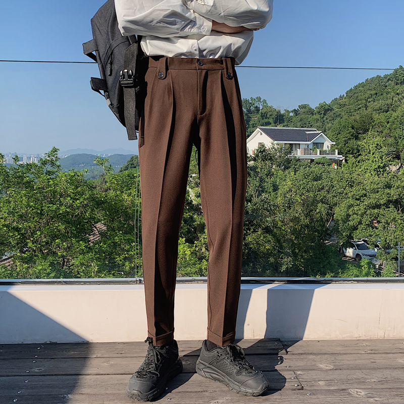 2020 Men's Leisure Trouser Suit Casual Pants Formal 3 Color Business Cotton Waist Tide Western-style Trousers Big Size 28-36