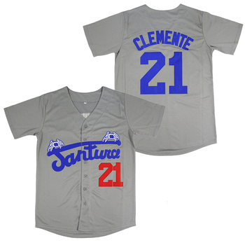 BG baseball jerseys Santurce Crabbers 21 Clemente jersey Outdoor sportswear Embroidery sewing gray Hip-hop Street culture image