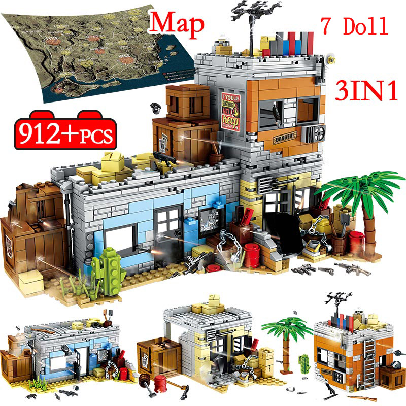 912PCS Military Building Blocks For Legoingly Army WW2 City Police PUBG Battlegrounds Soldiers Weapon Gun Bricks Toys For Boys