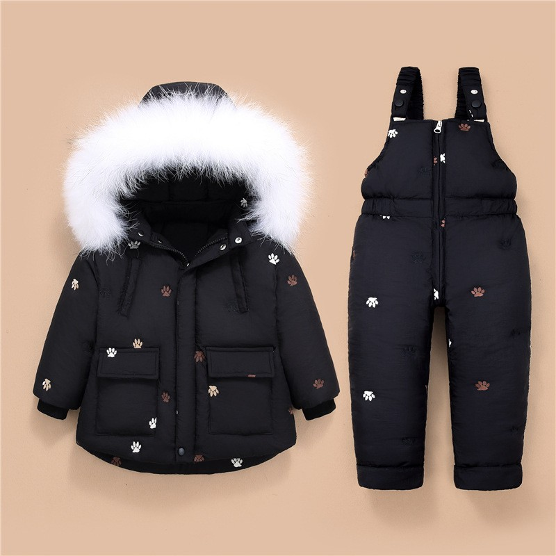 Children's Down Jacket for boys Winter baby girl Clothes with Big Fur Down snow Sets 2pcs Baby girls Overalls kids Infant Coat