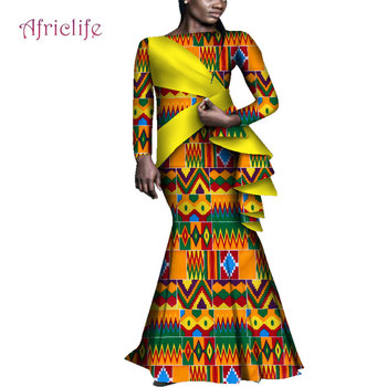 African Bazin Fabric Traditional Dresses Plus Size 7xl Women Spring Fall Clothing African Dresses for Women WY4629